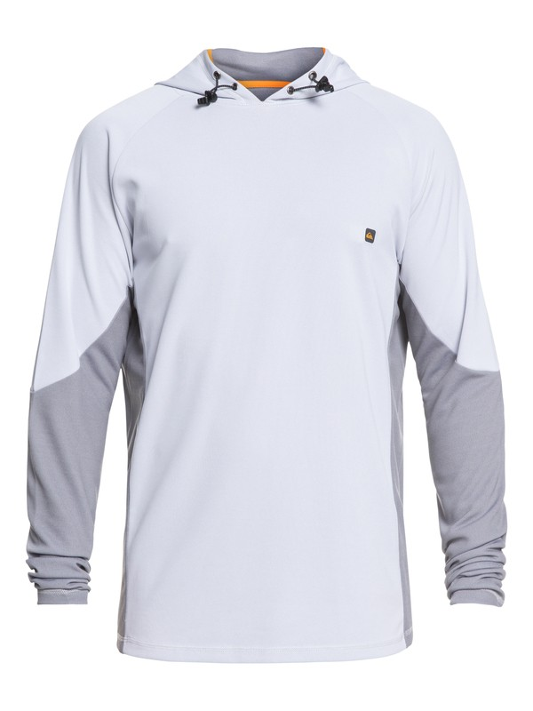0 Waterman Hooked Long Sleeve Hooded UPF 30 Rashguard White EQMWR03052 Quiksilver