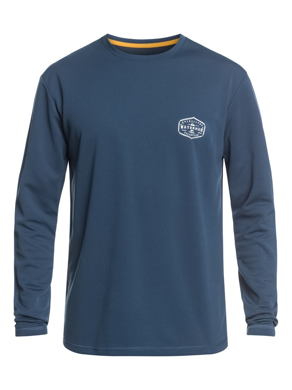 0 Waterman Gut Check Long Sleeve UPF 50 Surf Tee Blue EQMWR03057 Quiksilver