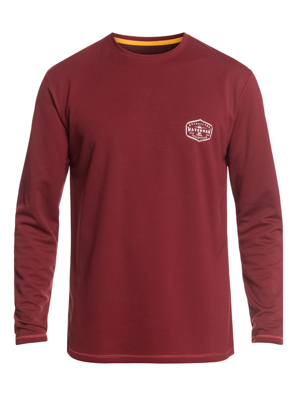 0 Waterman Gut Check Long Sleeve UPF 50 Surf Tee Red EQMWR03057 Quiksilver