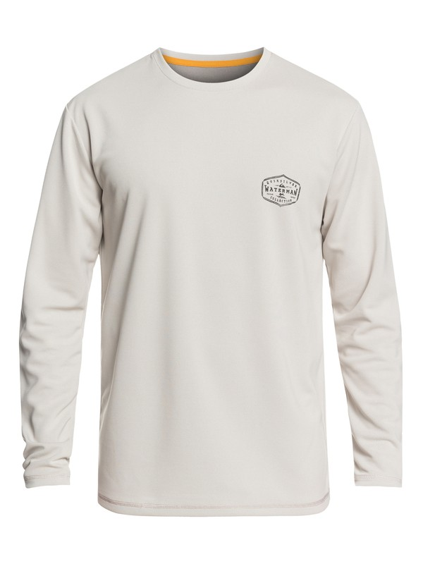 0 Waterman Gut Check Long Sleeve UPF 50 Surf Tee Grey EQMWR03057 Quiksilver