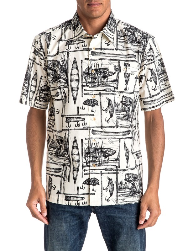 0 Hombres Camisa Manga Corta  Angler  EQMWT03016 Quiksilver