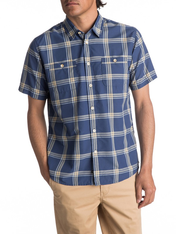 0 Waterman Island Job Update Short Sleeve Shirt Blue EQMWT03067 Quiksilver