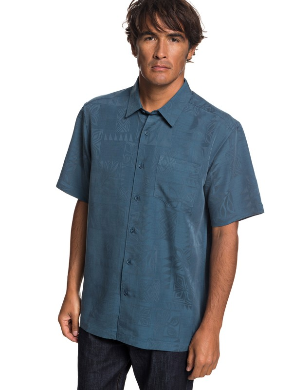 0 Waterman Malama Bay Short Sleeve Shirt Blue EQMWT03116 Quiksilver