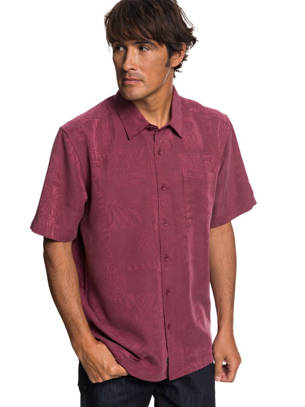 0 Waterman Malama Bay Short Sleeve Shirt Red EQMWT03116 Quiksilver