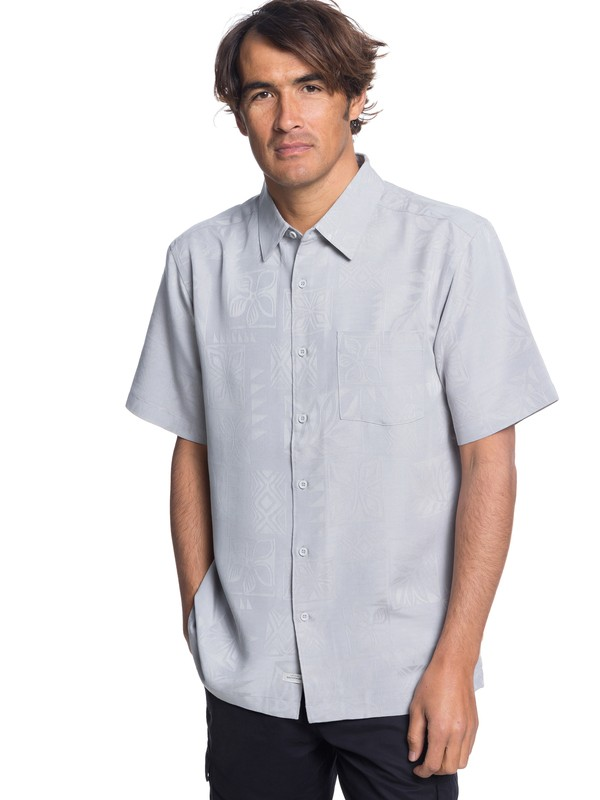 0 Waterman Malama Bay Short Sleeve Shirt Grey EQMWT03116 Quiksilver