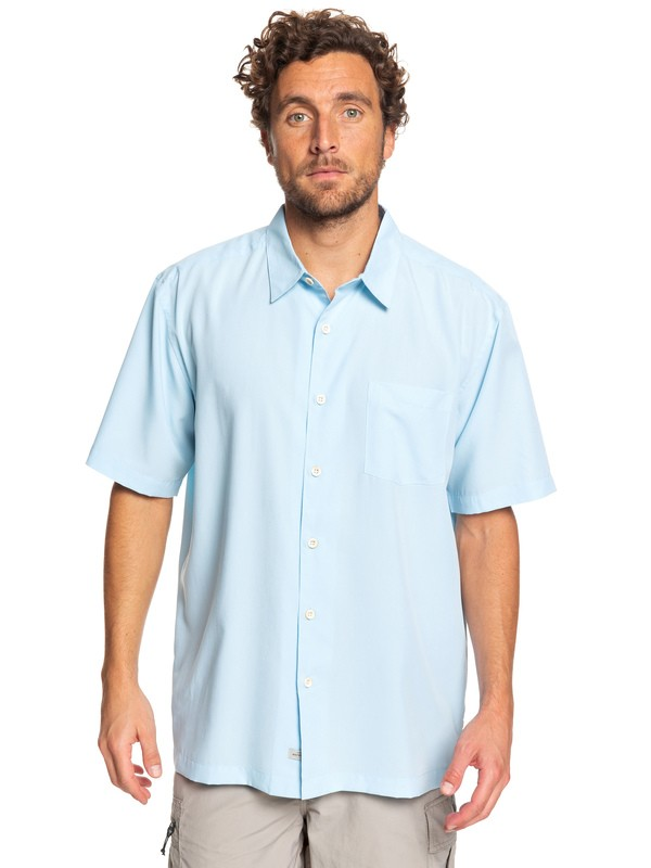 0 Waterman Cane Island Short Sleeve Shirt Blue EQMWT03149 Quiksilver