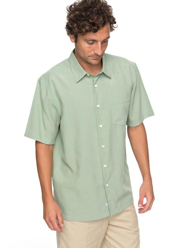 0 Waterman Cane Island Short Sleeve Shirt Green EQMWT03149 Quiksilver