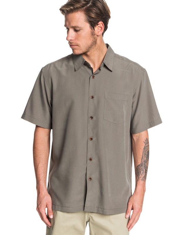 0 Waterman Cane Island Short Sleeve Shirt Green EQMWT03149 Quiksilver