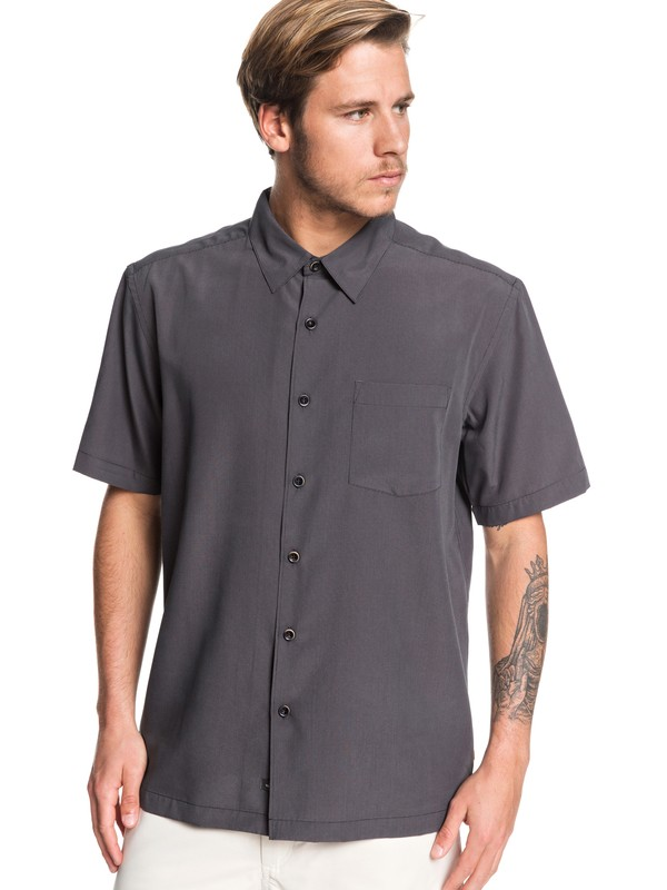 0 Waterman Cane Island Short Sleeve Shirt Black EQMWT03149 Quiksilver