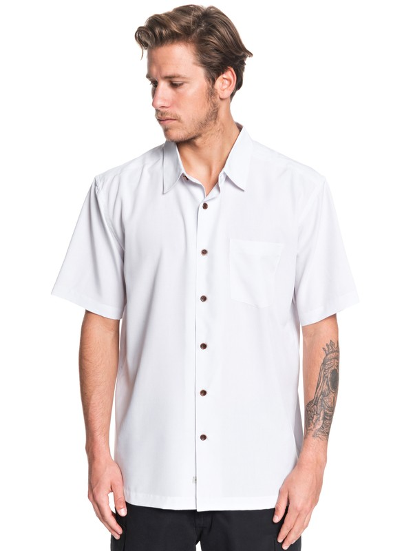 0 Waterman Cane Island Short Sleeve Shirt White EQMWT03149 Quiksilver