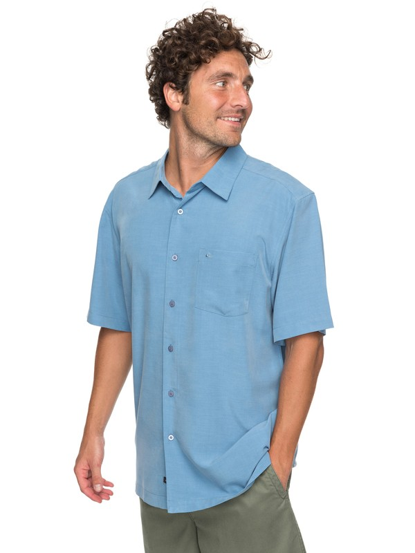 0 Waterman Clear Days Short Sleeve Shirt Blue EQMWT03151 Quiksilver