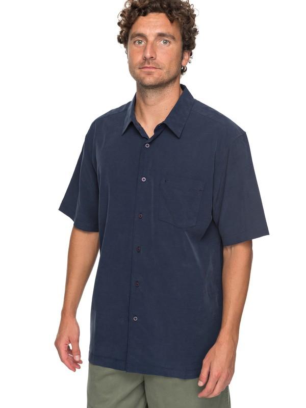 0 Waterman Clear Days Short Sleeve Shirt Blue EQMWT03151 Quiksilver