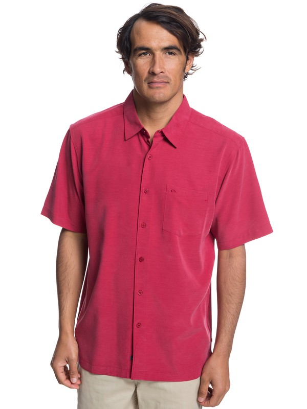 0 Waterman Clear Days Short Sleeve Shirt Red EQMWT03151 Quiksilver