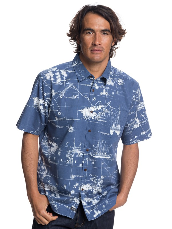 0 Waterman Pacific Seas Short Sleeve Shirt Blue EQMWT03170 Quiksilver