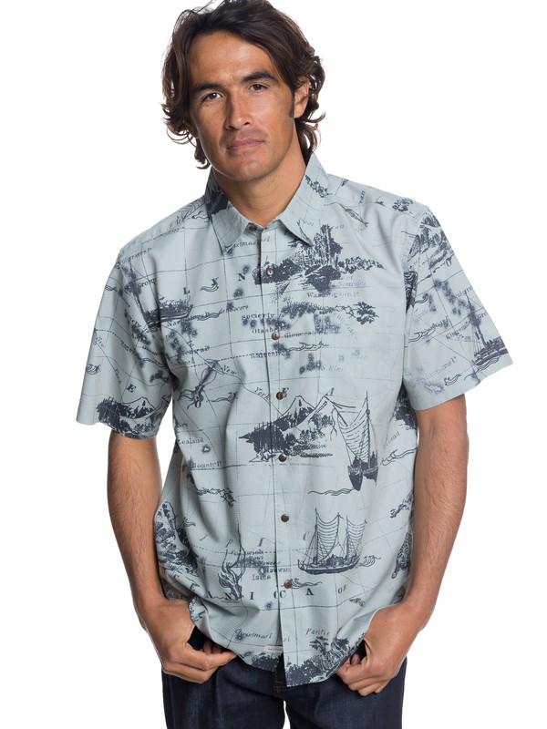 0 Waterman Pacific Seas Short Sleeve Shirt Grey EQMWT03170 Quiksilver