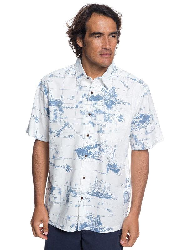 0 Waterman Pacific Seas Short Sleeve Shirt White EQMWT03170 Quiksilver