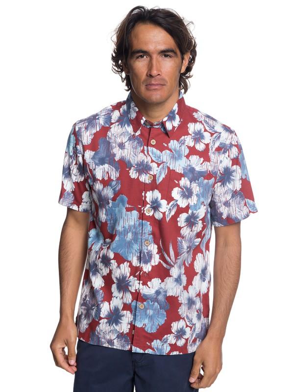 0 Waterman Rain Flowers Short Sleeve Shirt Red EQMWT03172 Quiksilver