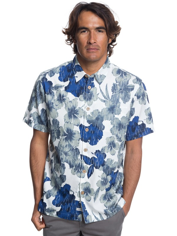0 Waterman Rain Flowers Short Sleeve Shirt White EQMWT03172 Quiksilver