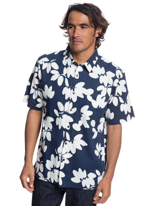 0 Waterman Living The Life Short Sleeve Shirt Blue EQMWT03175 Quiksilver