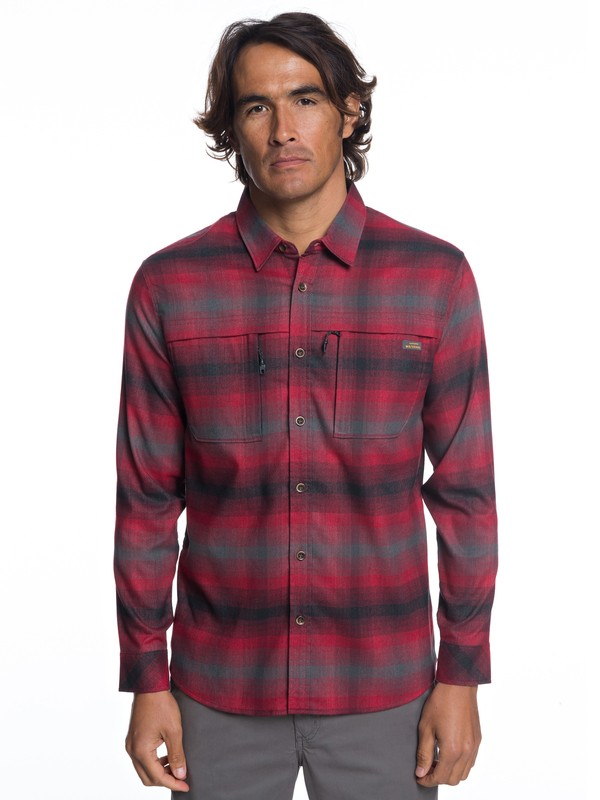 0 Waterman Thermo Hyper Flannel Technical Long Sleeve Shirt Red EQMWT03183 Quiksilver
