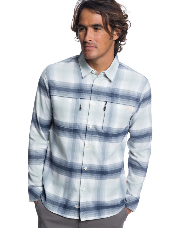 0 Waterman Thermo Hyper Flannel Technical Long Sleeve Shirt White EQMWT03183 Quiksilver