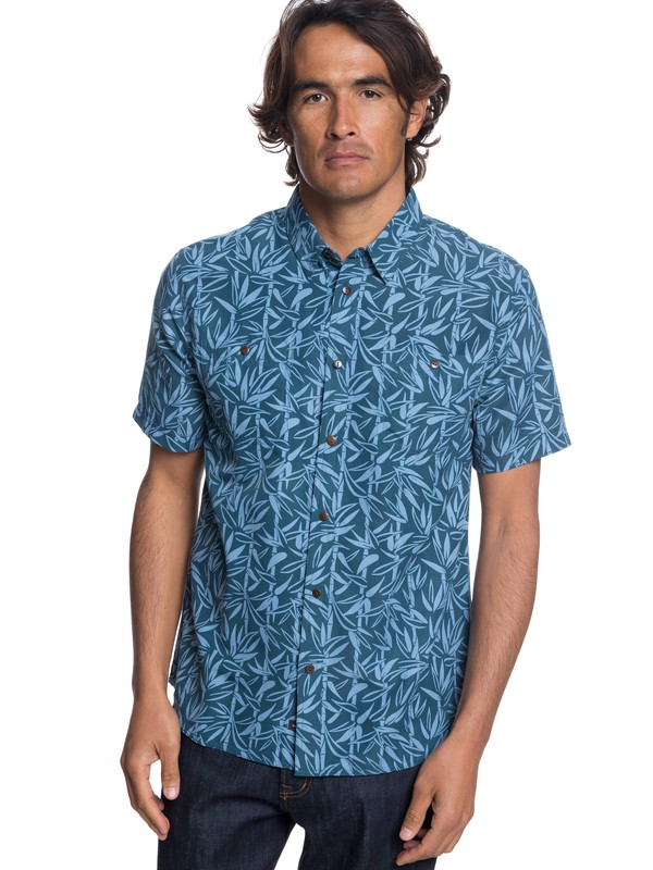 0 Waterman Wake Bamboo Fences Technical Short Sleeve Shirt Blue EQMWT03188 Quiksilver