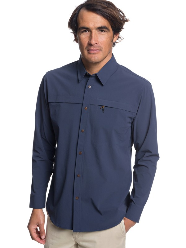 0 Waterman Salt Water Explorer - Technical UPF 30 Long Sleeve Shirt for Men Blue EQMWT03189 Quiksilver