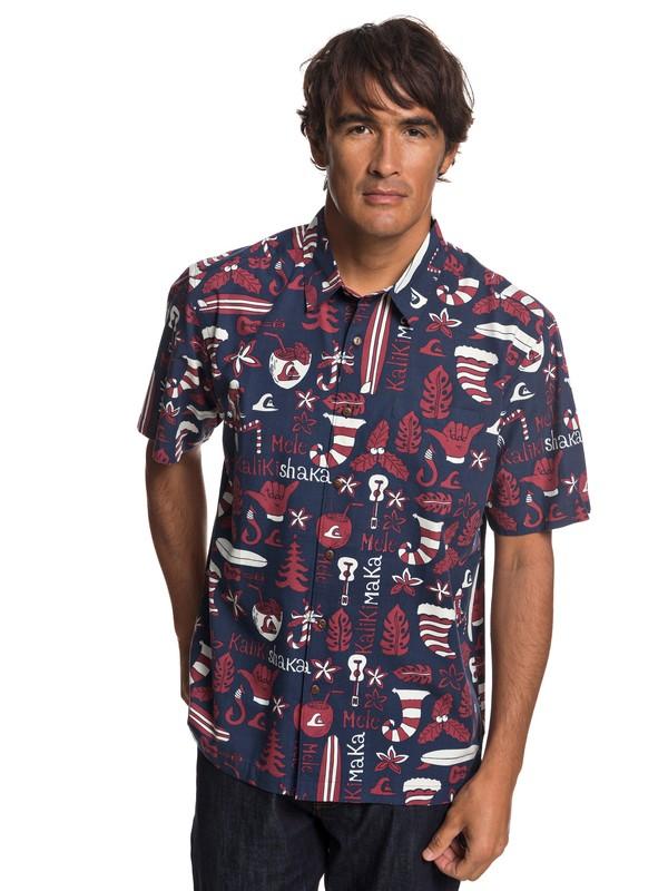 0 Waterman Mele Kalilimaka Short Sleeve Shirt  EQMWT03202 Quiksilver