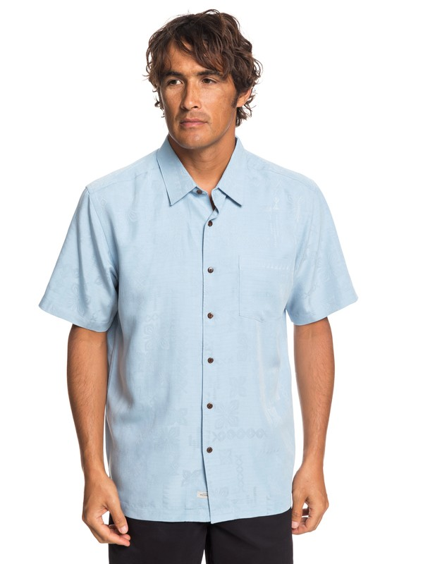 0 Waterman Kelpies Bay Short Sleeve Shirt Blue EQMWT03228 Quiksilver