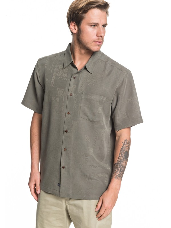 0 Waterman Kelpies Bay Short Sleeve Shirt Green EQMWT03228 Quiksilver