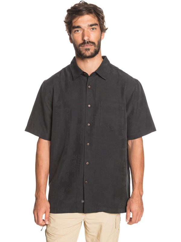 0 Waterman Kelpies Bay Short Sleeve Shirt Black EQMWT03228 Quiksilver
