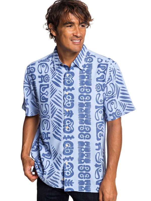 0 Waterman Rich Seas Short Sleeve Shirt Blue EQMWT03239 Quiksilver