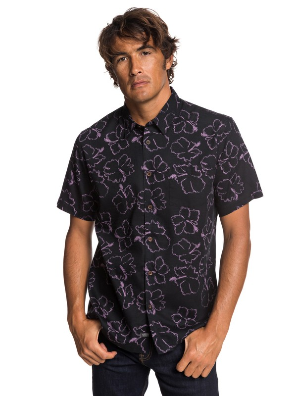 0 Waterman Seasick Hilo - Camisa de Manga Corta para Hombre Negro EQMWT03240 Quiksilver