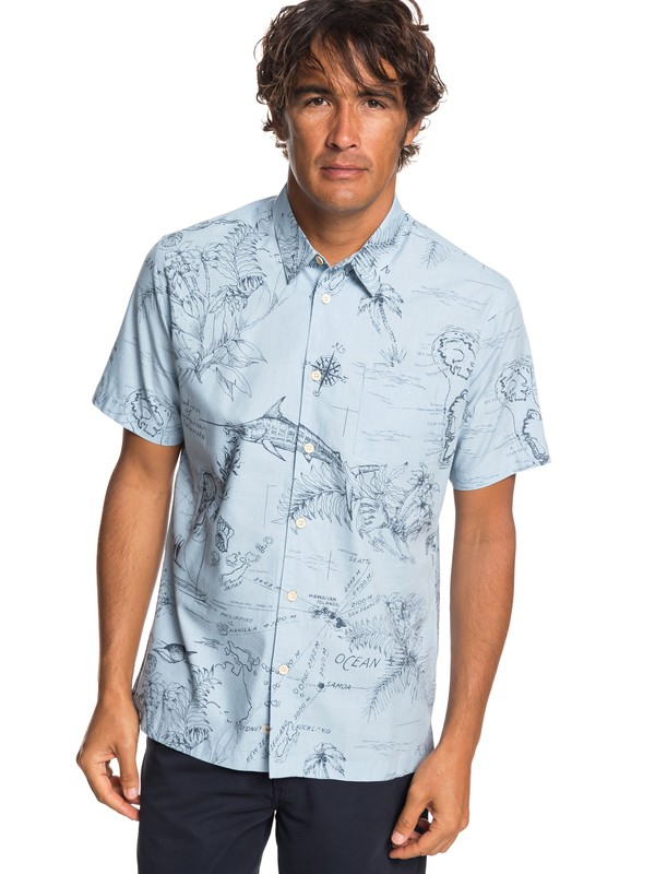 0 Waterman Pacific Records Short Sleeve Shirt Blue EQMWT03242 Quiksilver