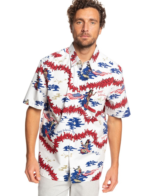0 Waterman Backscratcher Short Sleeve Hawaiian Shirt White EQMWT03247 Quiksilver