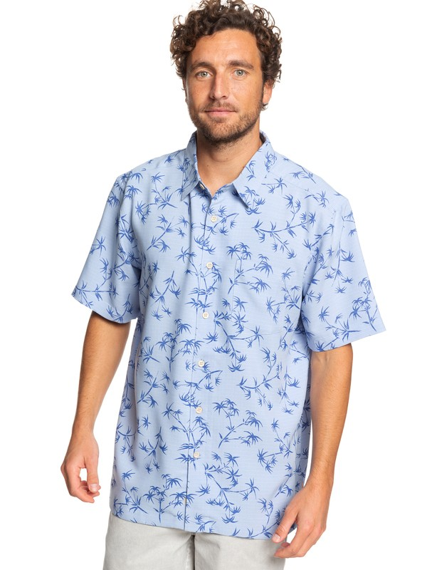 0 Waterman Skinny Palms Short Sleeve Shirt Blue EQMWT03249 Quiksilver