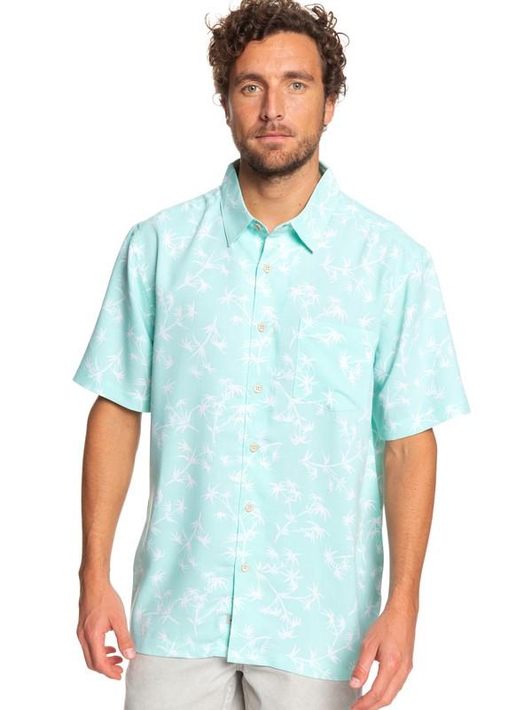 0 Waterman Skinny Palms Short Sleeve Shirt Green EQMWT03249 Quiksilver