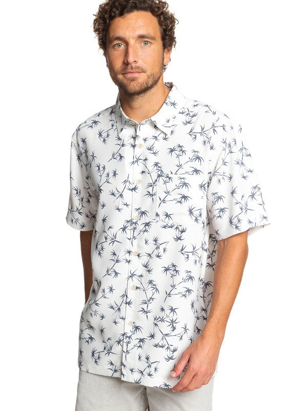 0 Waterman Skinny Palms Short Sleeve Shirt White EQMWT03249 Quiksilver