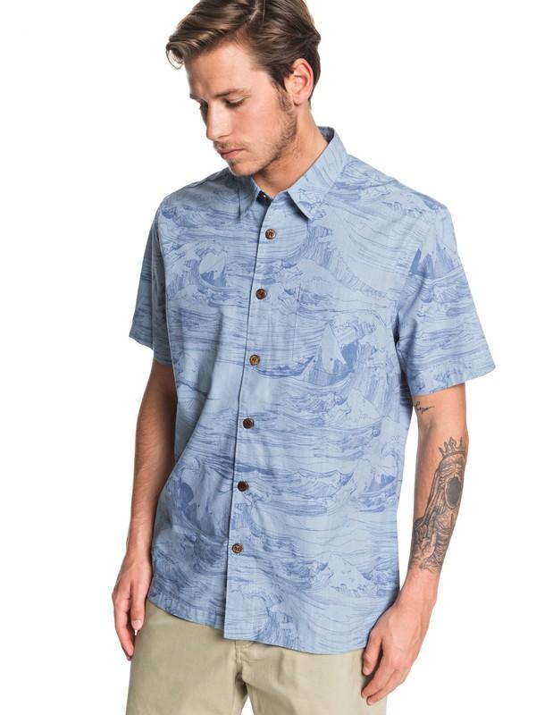 0 Waterman Les Waves Short Sleeve Shirt Blue EQMWT03259 Quiksilver