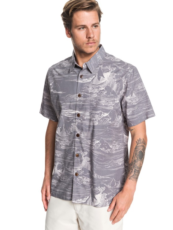 0 Waterman Les Waves Short Sleeve Shirt Black EQMWT03259 Quiksilver