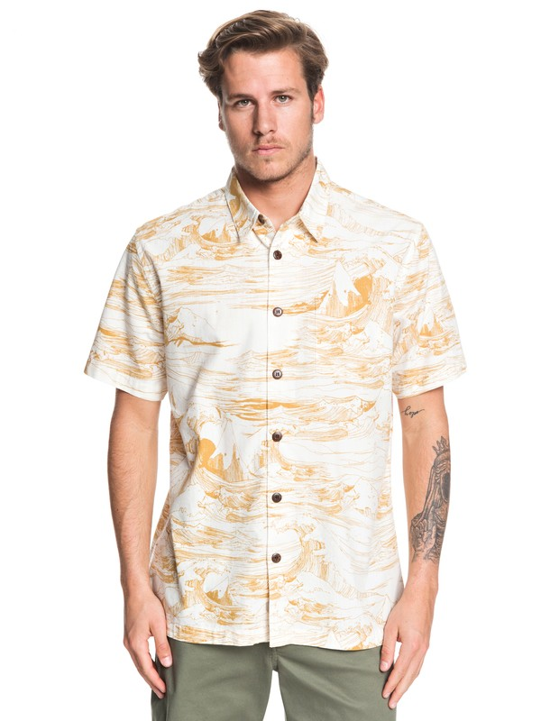 0 Waterman Les Waves Short Sleeve Shirt Yellow EQMWT03259 Quiksilver
