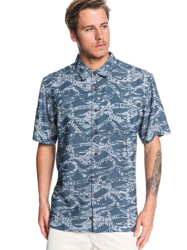 0 Waterman Tribal Kelp Short Sleeve Shirt Blue EQMWT03260 Quiksilver