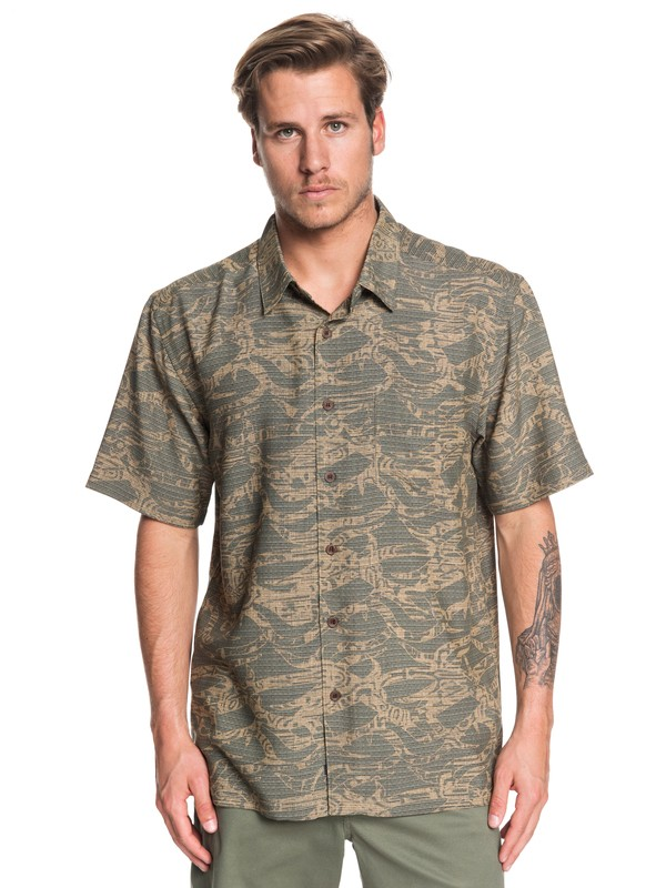 0 Waterman Tribal Kelp Short Sleeve Shirt Green EQMWT03260 Quiksilver