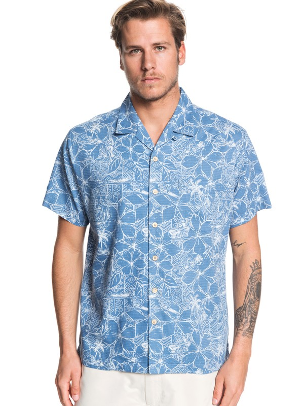 0 Waterman Big Swells Short Sleeve Shirt Blue EQMWT03261 Quiksilver