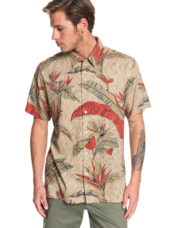 0 Waterman Under Warm Rain Short Sleeve Shirt Brown EQMWT03262 Quiksilver