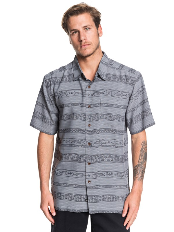 0 Waterman Tapa Sunriser Short Sleeve Shirt Black EQMWT03263 Quiksilver