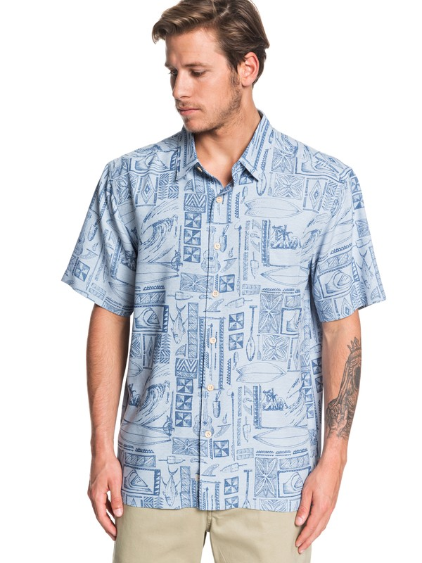 0 Waterman Vaianae Bay Short Sleeve Shirt Blue EQMWT03264 Quiksilver