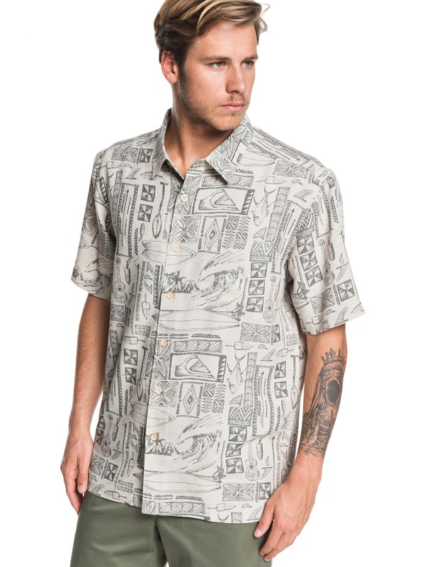 0 Waterman Vaianae Bay Short Sleeve Shirt Grey EQMWT03264 Quiksilver