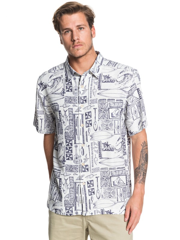 0 Waterman Vaianae Bay - Short Sleeve Shirt for Men Blanco EQMWT03264 Quiksilver