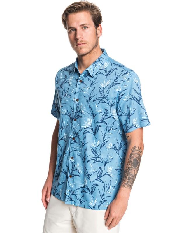 0 Waterman Maze Day Short Sleeve Shirt Blue EQMWT03268 Quiksilver